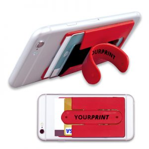 Silicone phone pocket with snap stand MPHN06